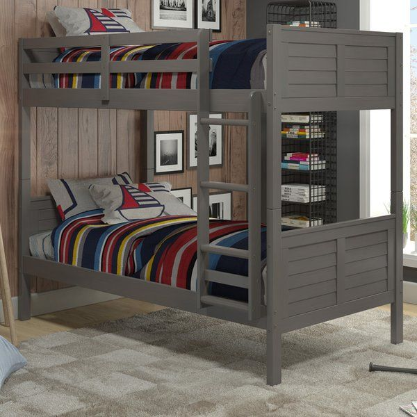 Playful and posh, this beautiful bunk bed is the perfect pick for your little one's room. Keep it centered on a blank wall with framed movie posters on either side for a distinctive display, then use the spared space in the center to roll out a stylish striped rug topped with poufs and keep a bench nearby to stage a small TV and a stack of DVDs. Whether they're kicking back with a flick before bed or hosting a sleepover with a group of friends, it's sure to be a hit. Outfit both b...
