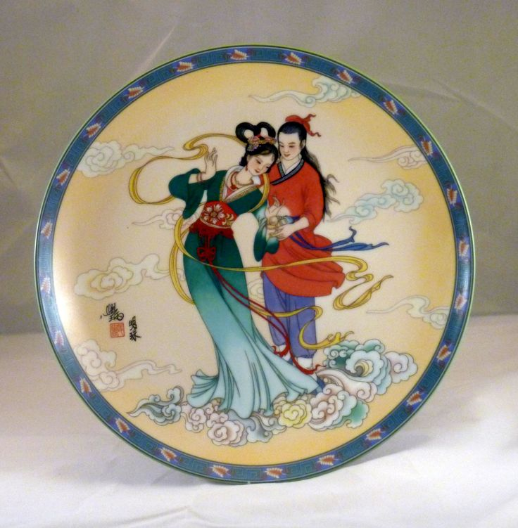 "1990 - LEGENDS OF WEST LAKE Bright Pearl is the 6th plate Size 8 1/2"" By Master Artisan J. Xue-Bing.  Manufactured by Imperial Ching-Te Chen Porcelain."