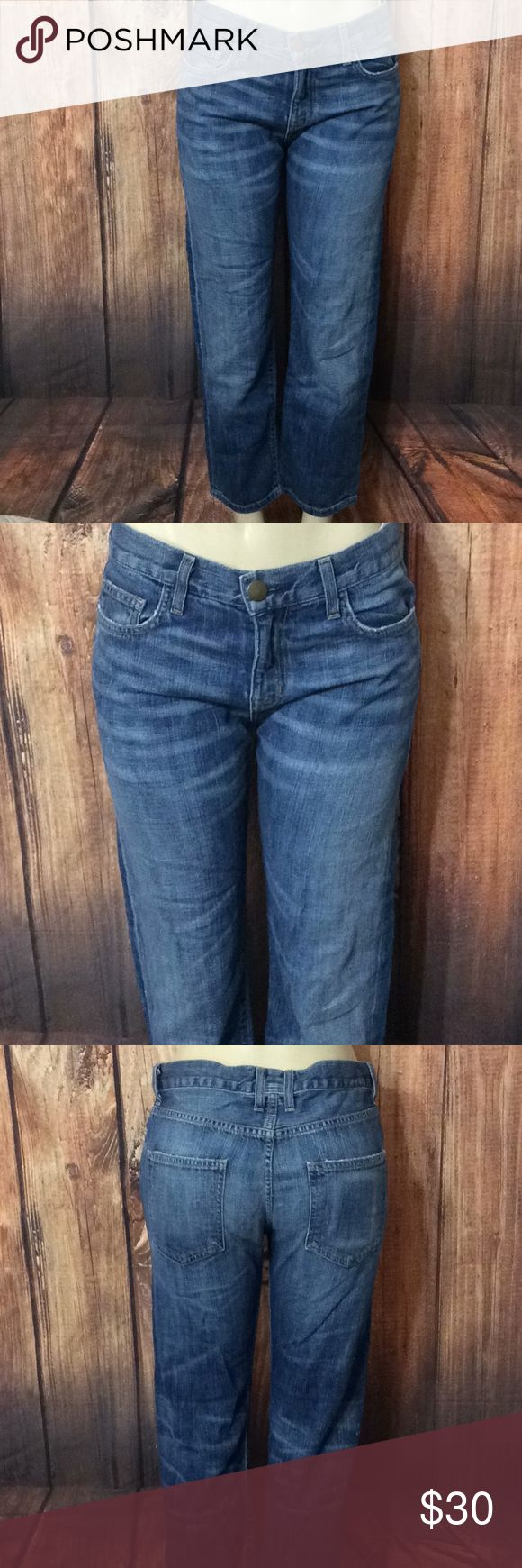 """CURRENT/ELLIOTT The Boyfriend easy love sz 26x26 Measurements Laying Flat Apr. Waist  16"""" Run big please See pic👆 Hips  20"""" Rise  10.5"""" Inseam  26 Leg Opening  7.5""""  Label sz 26""""   Hardly used but still in good shape   Check Out My Other Items   Thank You For Looking Current/Elliott Jeans Boyfriend"""