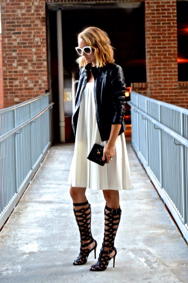 Love how she wore those bold gladiator boots! nicole richie white dress leather jacket