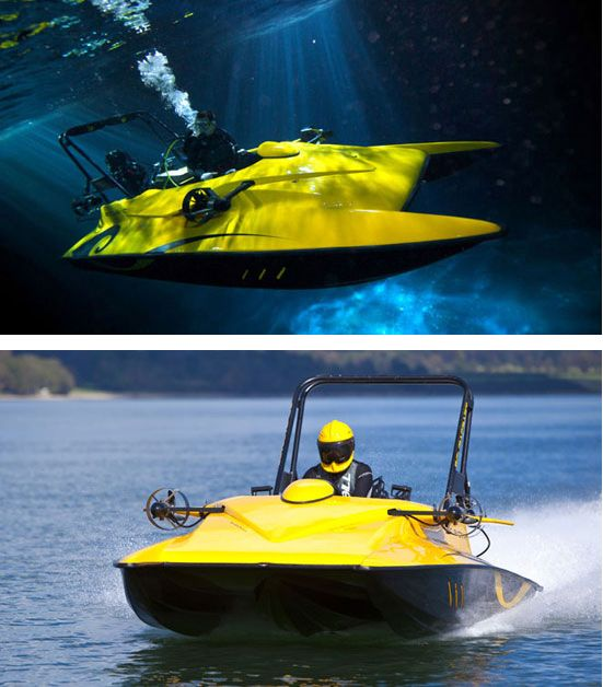 ScubaCraft. (The boat that is made for scuba divers, allowing them to sail out to their dive location and then dive underwater. The divers have their gear on when submerged and can drive the veichle underwater. Allowing scuba divers to cover more area among other things. ScubaCraft can go up to 98 feet and has a top speed of 50 mph on the surface.)
