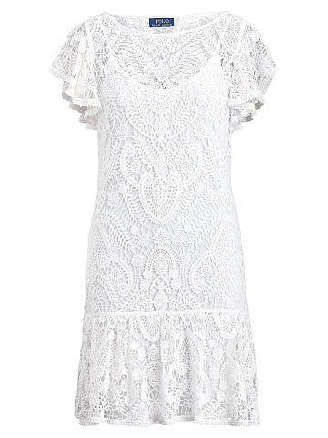 Polo Ralph Lauren Ruffled Lace Dress - Polo Ralph Lauren Midi - Ralph Lauren France