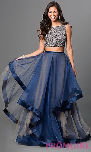 Two Piece Terani Dress with Tiered Skirt at PromGirl.com