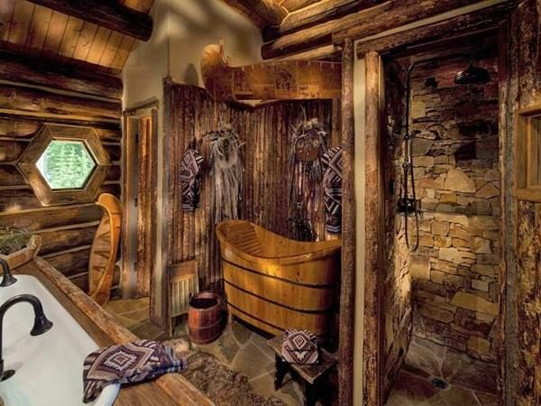 Super charming rustic cabin bathrooms