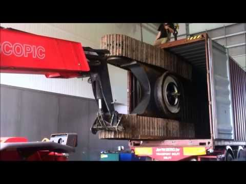Loading KOMATSU PC230 in 40FT container - YouTube