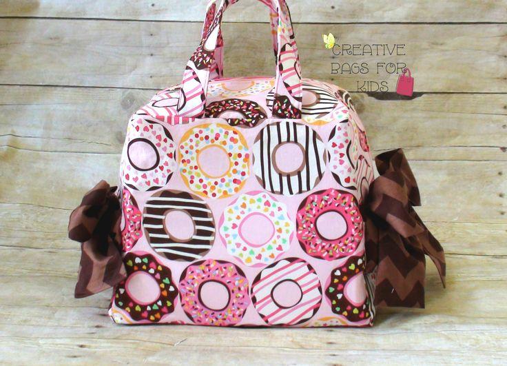 Lunch Bag/ Large Lunch Bag/ Donut Lunch Bag/ Sleepover bag/ Donut bag/ Pink handbag/ Small diaper bag/ Small Mommy bag/ Girls Lunch bag by CreativeBagsForKids on Etsy