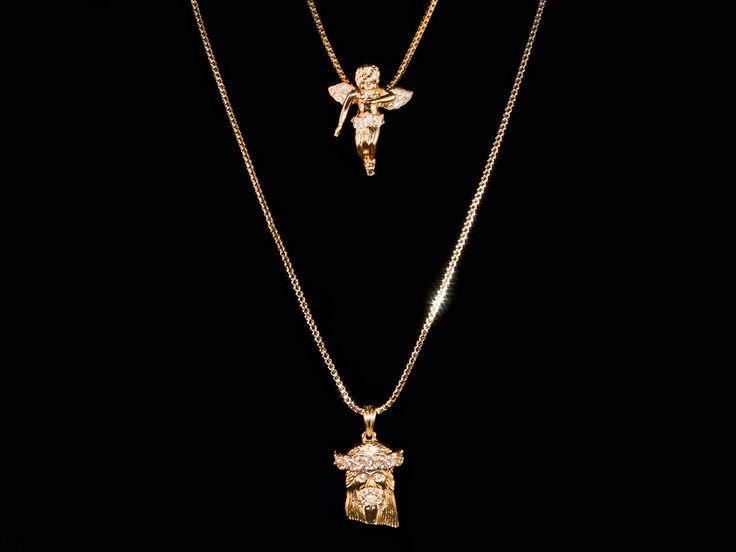 2 Chain Set: 14K Gold Iced Out Jesus Piece & Gold Angel