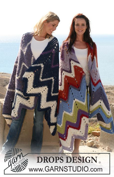 "DROPS 106-42 by DROPS Design   ""This springs most happy blanket in true indian style!""  DROPS crochet blanket with zigzag pattern in ""Eskimo""."