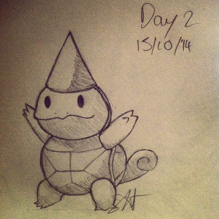 I need to improve my drawing ability so I'm challenging myself to draw every day for 30 days. Here's day 2. Squirtle in a party hat xD