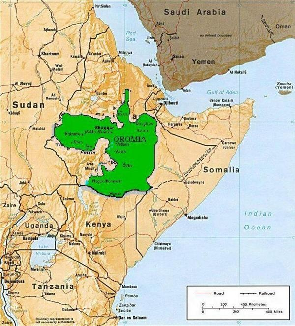 Oromia in East Africa, home land of the Oromo people