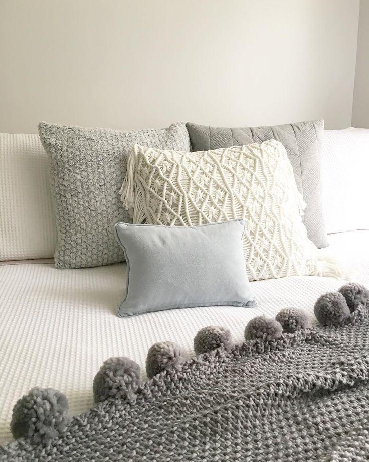 @stylingbytiffany on Instagram: bedroom grey tones macrame cushion
