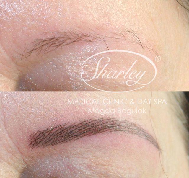 Makijaż permanentny brwi metodą włoskową.