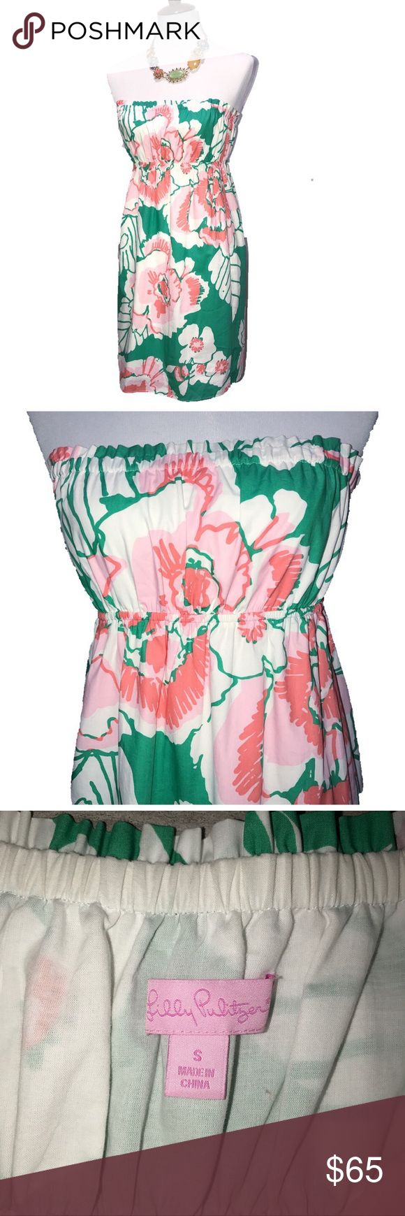 Lilly Pulitzer Hawaiian Floral Strapless Sundress Lilly Pulitzer strapless sundress. Large Hawaiian pink and light green floral print. Slip on dress, no zipper. Elastic empire waistband. Fully lined. Great condition. Lilly Pulitzer Dresses Midi