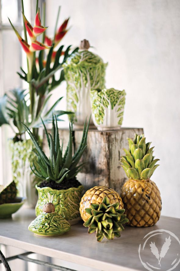 The yellow and green pineapple and cabbage collection provide a fresh summery palette especially when [aired with blonded wood www.frenchcountry.co.nz