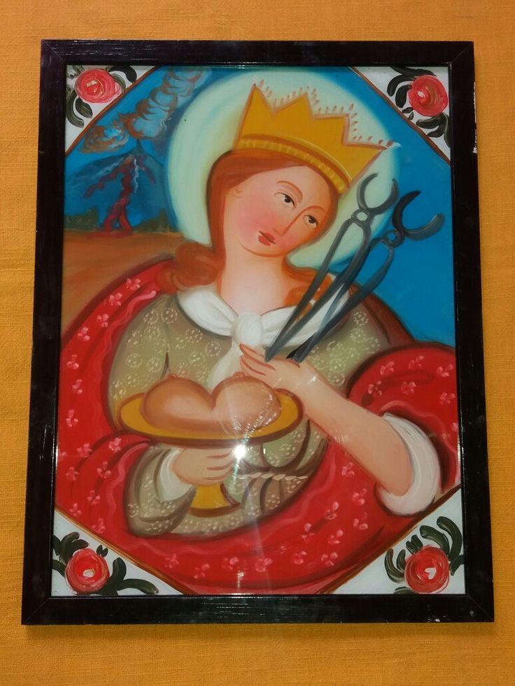 Dipinto su Vetro S. Agata cm 40x30 (repro) per info: pincisanti@hotmail.com