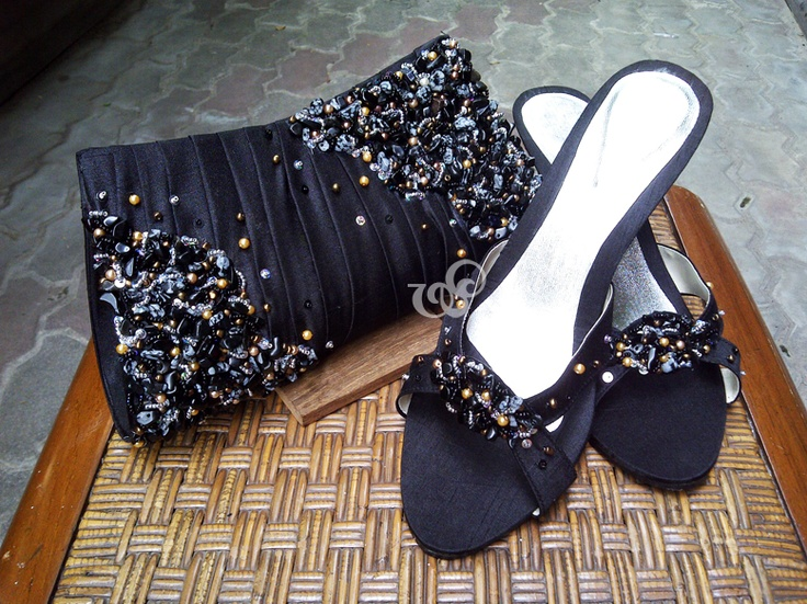 Gothic in black version of Bohemian #clutchbag and Anthea #sandals