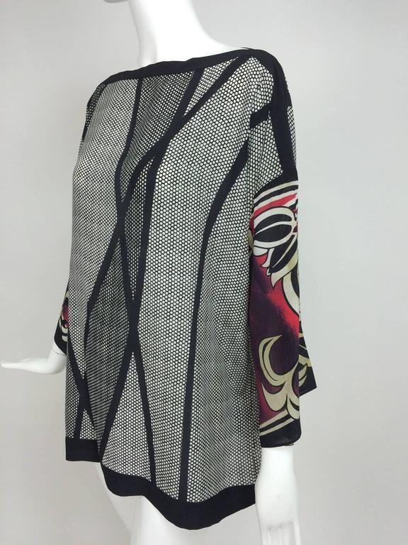 Escada printed silk tunic top