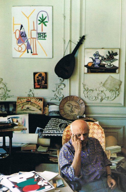 Pablo Picasso, home, guitar, paintings