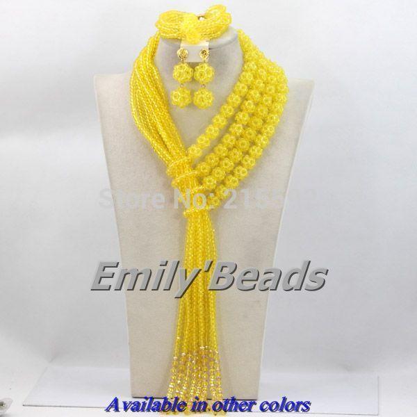 Великолепный Лимонно-Желтый Нигерии Свадебный Африканские Бусы Хрустальные Бусины Комплект Ювелирных Изделий 2014 Новый Дизайн Бесплатная Доставка AES280