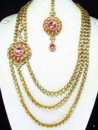 Shining diva paisley Haar Style Stones Kundan Necklace Set