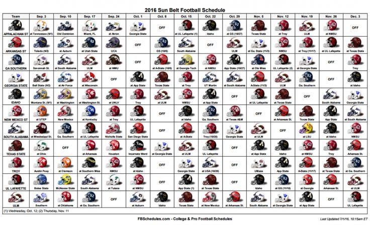 Sun Belt Football Helmet Schedule.PNG