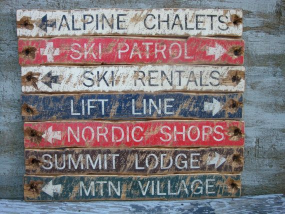 Rustic Distressed Ski Patrol Rentals Lift Line Nordic Summit Village Alpine Wood Cabin Lodge Sign Set