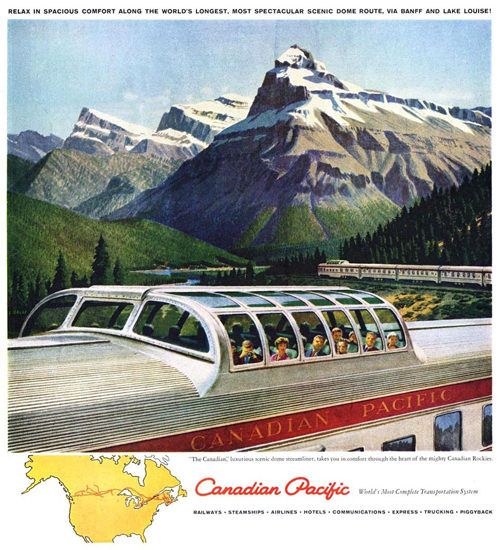 Canadian Pacific Canada Scenic Dome Train 1950 - www.MadMenArt.com features over…