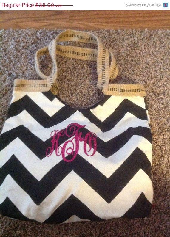 ON SALE Chevron Canvas Monogrammed Bag, Ladies monogram purse, womens monogram tote, Ladies personalized, chevron personalized purse, large