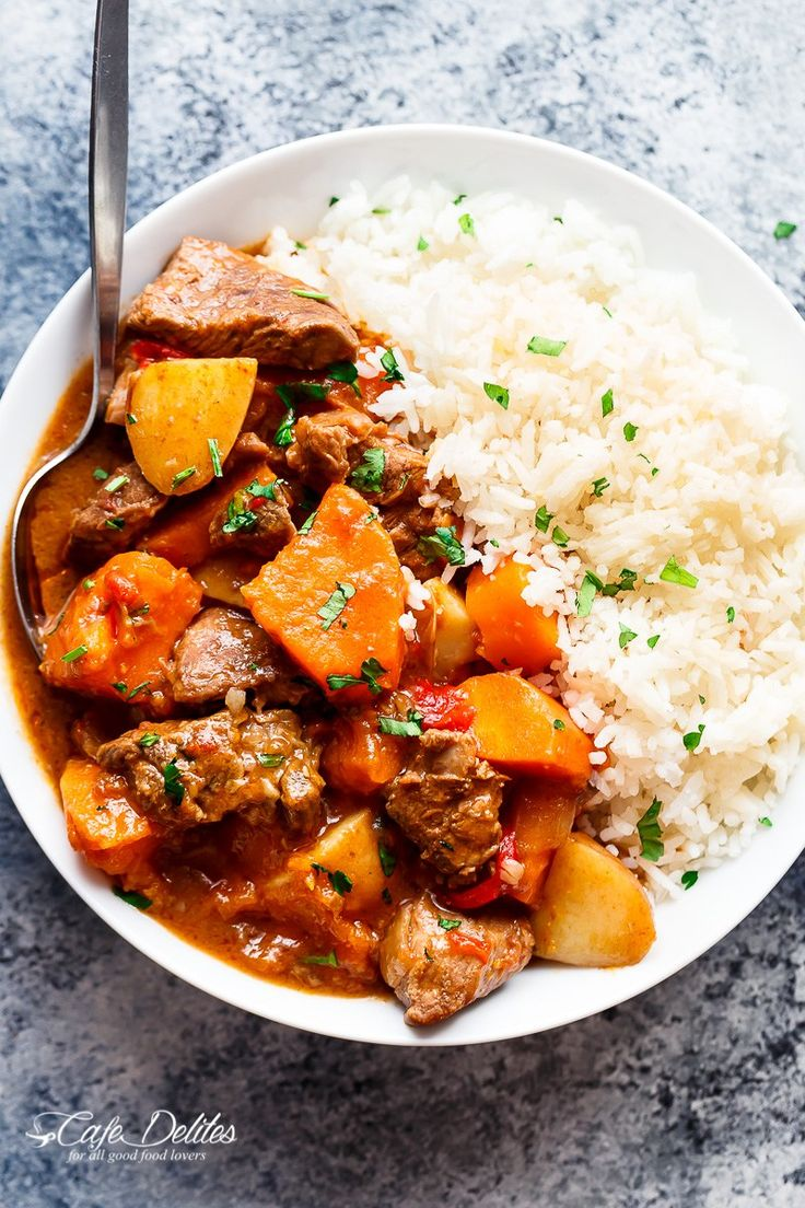 Slow Cooker Beef & Sweet Potato Stew is easy to throw together and filled with fall apart, tender beef pieces and sweet potato!