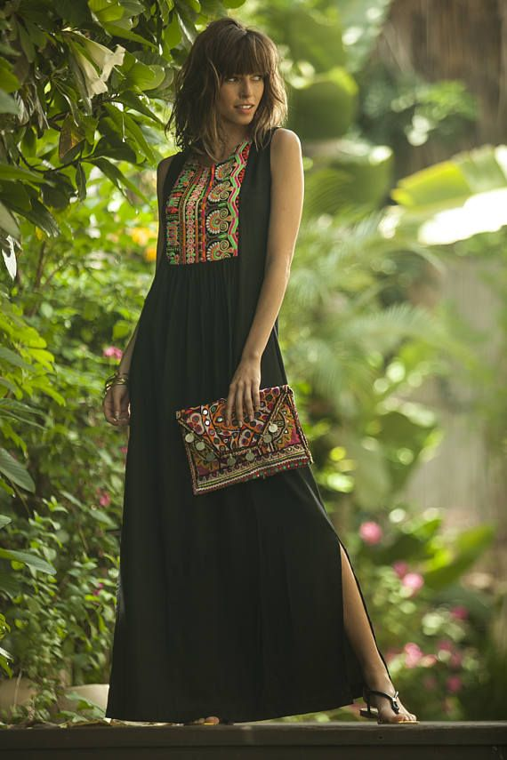 This beautiful Tribal dress is inspired by a classical, ethnic caftan design, that will beautify your face.with the high-quality embroidery - a Bold timeless design that can be worn day to night.This dress has a lot of presence and is guaranteed to attract a lot of compliments. Tribal Maxi Summer Dress, Ethnic Long Caftan Dress, Black Ethnic Indian Embroidery Dress, Black Kaftan, Bohemian Rayon Flattering OOAK Dress