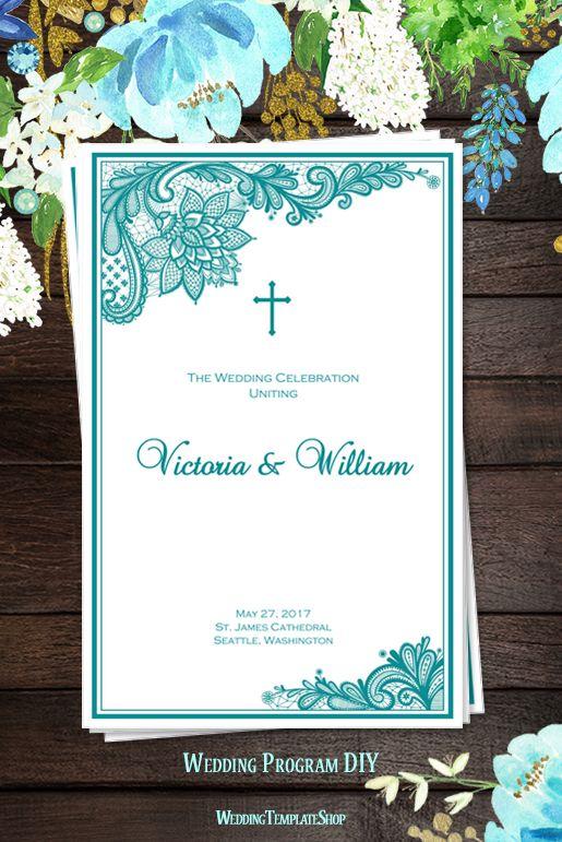 Catholic Wedding Program, DIY Printable Order of Service Templates, Vintage Lace Teal.