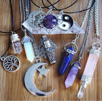 jewels necklace moon yin yang stone necklaces jewel grunge soft grunge pastel grunge choker necklace crystal quartz quartz pastel goth crystal gemstone pale