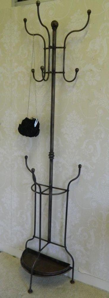 antique brown coat stand ornate hat rack shabby vintage chic storage hallway