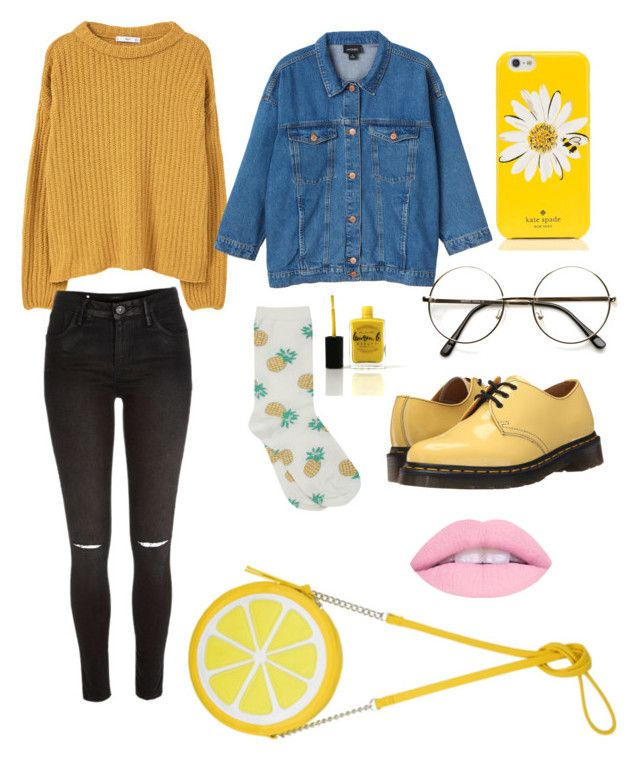 """""""I LOVE THIS SO MUCH (Tumblr aesthetic pastel art hoe)"""" by fandoomtrash ❤ liked on Polyvore featuring MANGO, Monki, M&Co, Kate Spade, ZeroUV, River Island, Dr. Martens and Lauren B. Beauty"""