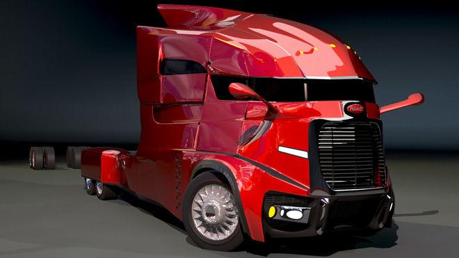 Computer rendering of a Peterbilt concept truck. Would love to see this on the highway.
