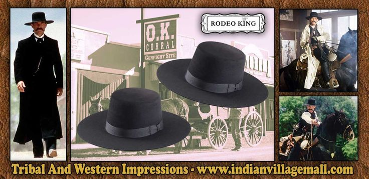 Wyatt Earp Style Tombstone - 3X Old West Felt Fur Blend Rodeo King Hat From Tribal And Western Impressions - www.indianvillagemall.com