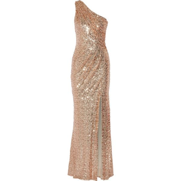 Badgley Mischka One-shoulder sequined tulle gown found on Polyvore featuring dresses, gowns, long dress, metallic, one shoulder evening dress, tulle dress, one shoulder evening gown, long beige dress and sequin gown