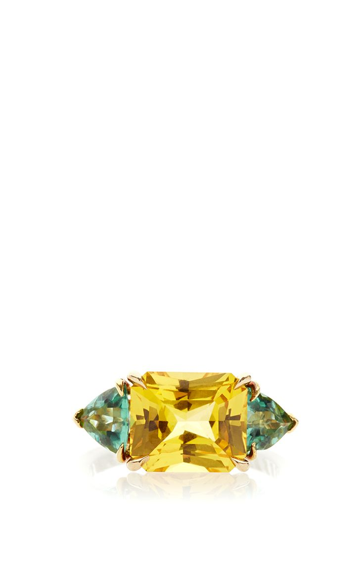 One Of A Kind Princess Cut Yellow Sapphire Ring by Paolo Costagli for Preorder on Moda Operandi