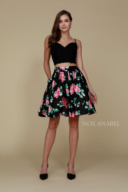 903833ae33 Two Piece Crop Top Floral Skirt Cocktail Dress in 2019