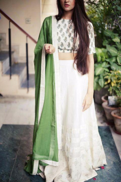 Buy FIZA_White lehenga with block printed blouse and green dupatta
