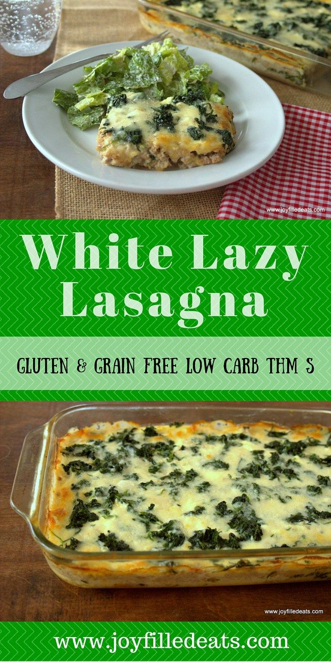 White Lazy Lasagna! This is inspired by the Lazy Lasagna in the Trim Healthy Mama Cookbook. It uses spinach instead of noodles and is low carb, grain & gluten free, & THM S.