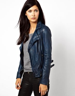 Muubaa | MuuBaa Reval Lambs Leather Jacket with Buckle Detail on Neck and Hem at ASOS