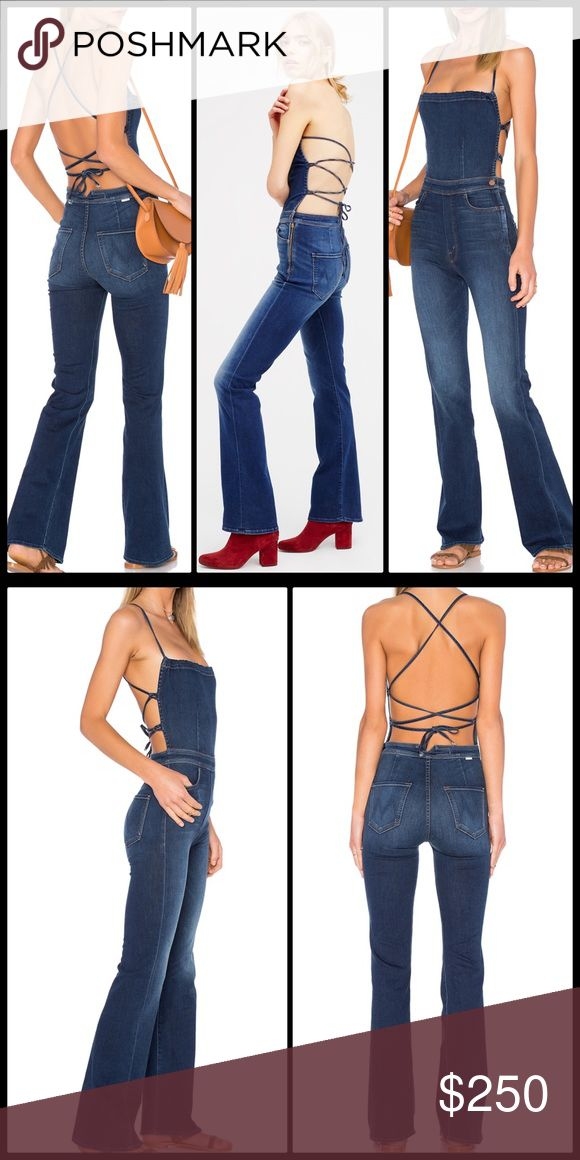 MOTHER x FP ✌🏽 Power Play Jumpsuit NWT Made from Mother's super stretch and easy denim this retro strapless jumpsuit features an open back with adjustable crisscross ties. Four-pocket style with vintage-inspired flared legs. American made.  Mother  50% Modal, 41.5% Cotton, 6% Polyester, 2.5% Elastane Machine Wash Cold Made in the USA 🇺🇸 Free People Pants Jumpsuits & Rompers