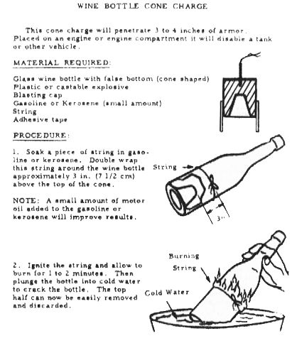 Partial plans for an improvised shaped charge made from the bottom of a wine bottle. The old burning-and-dunking technique is used to cut the glass.