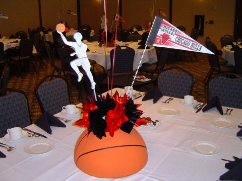 sport centerpieces | Custom Sports Theme Bar|Bat Mitzvah Centerpieces|Decorations