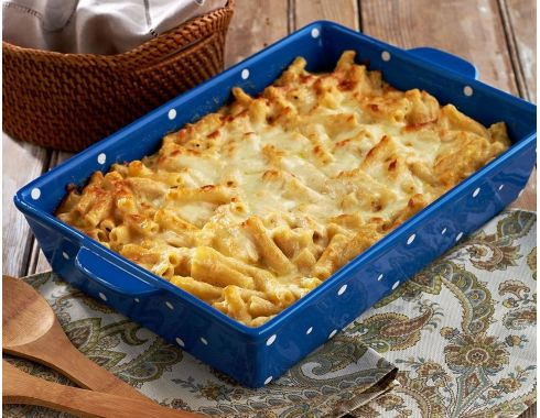 Cheesy Chicken & Bacon Ziti (can freeze it), from Jill Bauer's (QVC) blog.