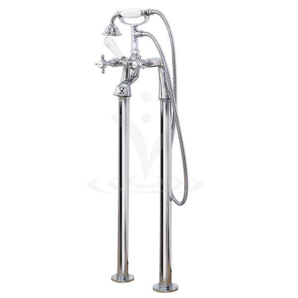 Regent Traditional Freestanding Bath Shower Mixer - Chrome at Victorian Plumbing UK
