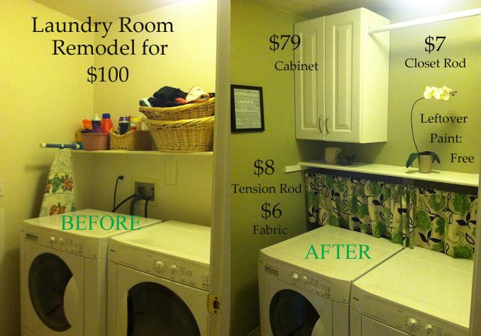 My own Laundry Room Makeover for $100  I know it's simple, but I love the idea of covering up the water valves.