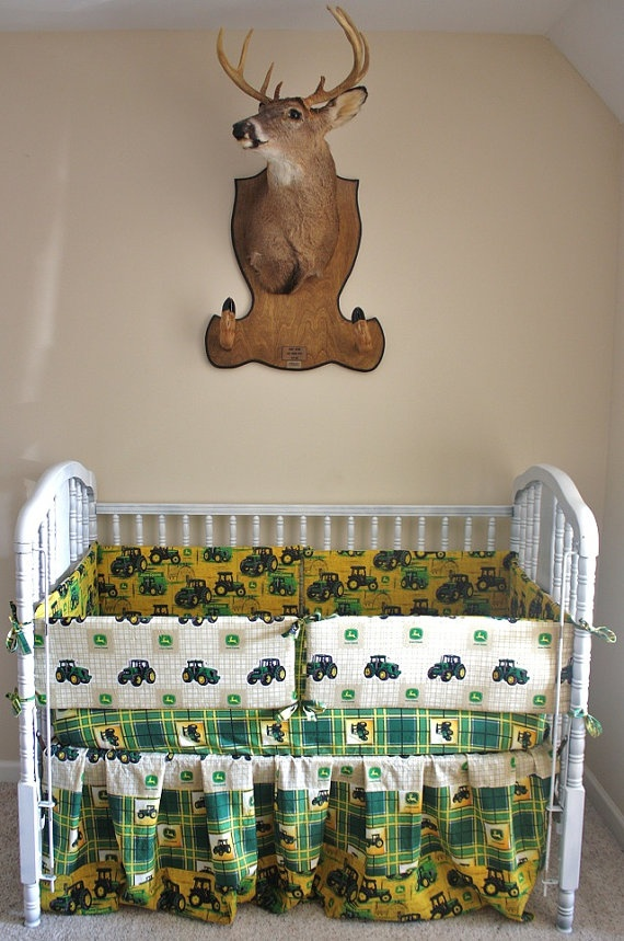 John Deere baby crib. This is so my husbands idea of a nursery except he'd prefer camo for the bedding!