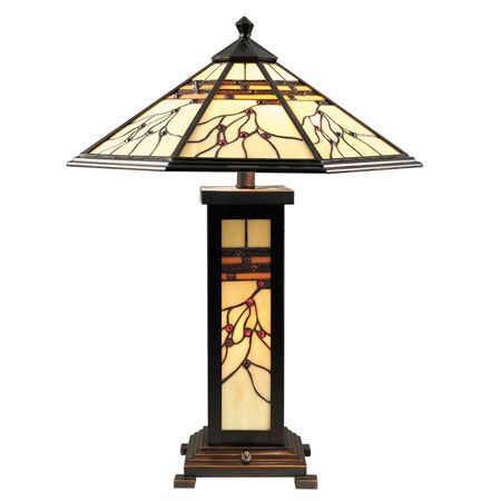 Branches and red berries decorate this lovely craftsman lamp. And the base lights up!
